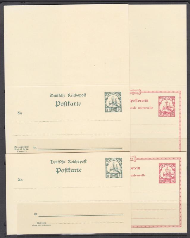 Caroline Islands Mi P7-P10 mint 1901 Postal Reply Double Cards, cplt set, VF