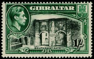 GIBRALTAR SG127, 1s black & green PERF 14, UNMOUNTED MINT. Cat £45.