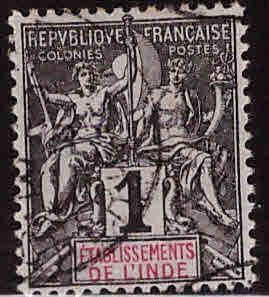 FRENCH INDIA  Scott 1 Used 1892 Navigation and Commerce stamp