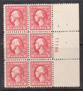 USA #527 NH Mint Plate Block Of Six