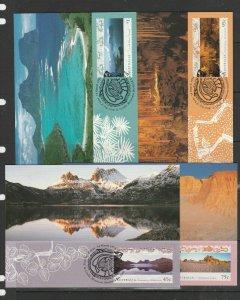 Australia 1996 World Heritage set 4 Maxi cards, stamp Used on Front FDI, SG 1582