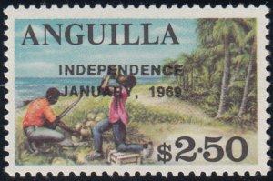 Anguilla 1969 MNH Sc #66 Overprint on $2.50 Coconut harvest