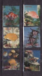 Bhutan-Sc#100-100E-unused NH set-3-D stamps-Fish-Marine Life-1969-