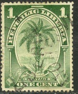 LIBERIA 1897-1905 1c OIL PALM Pictorial Sc 55 VFU