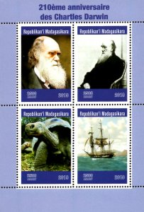 Madagascar 2019 Charles Darwin Turtle Ship 4v MNH S/S. (#032)