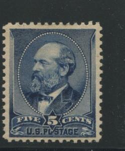 1888 US Stamp #216 5c Mint Hinged Grade XV 85 OG Catalogue Value $335 Certified