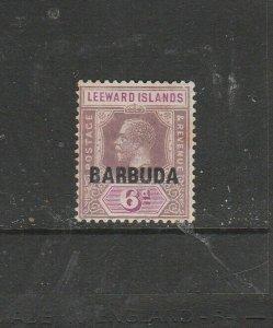 Barbuda 1922 Opts on Antigua 6d MM SG 5