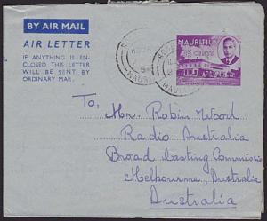 MAURITIUS 1954 25c GVI aerogramme commercially used to Australia............5859
