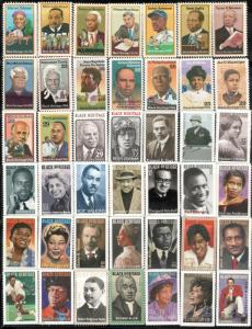 1744/5349 Black Heritage True Complete Set Of 42 Stamps Mint/nh