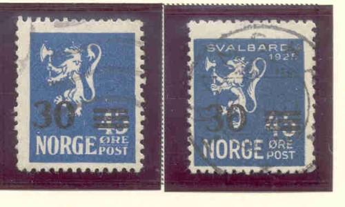 Norway Sc 129-30 1927 30 ore on 45 ore lion ovpt stamp se...