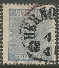 Sweden Scott #9 Stamp - Used Single