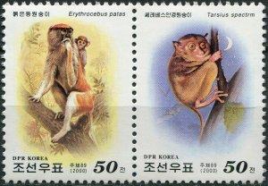 Korea 2000. Monkeys from all over the world (MNH OG) Block of 2 stamps