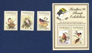 NORFOLK ISLAND - 497-500  - VF MNH - Birds, Birdpex - 1990