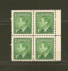 Canada 289 King George VI Block of 4 MNH