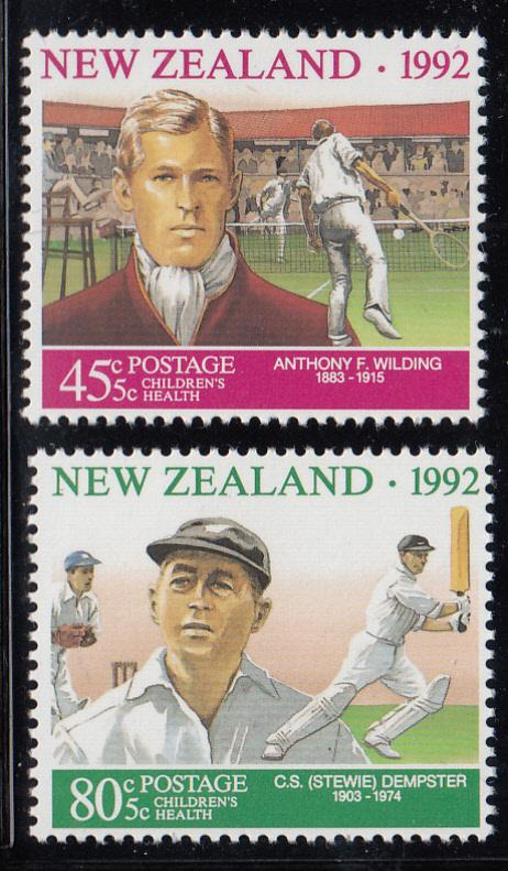 New Zealand 1992 MNH #B141-#B142 Wilding tennis, Dempster cricket