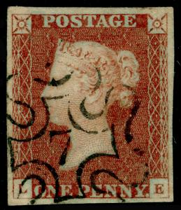 SG8, 1d red-brown, FINE USED. Cat £160. BLACK MX WITH 7. 4 MARGINS. LE