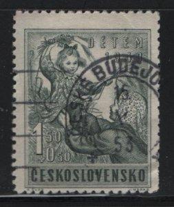 CZECHOSLOVAKIA, B166, USED 1949, Woman and child