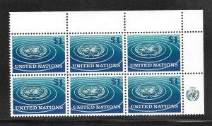 United Nations #150 MNH Margin Inscription Block of 6