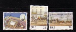 Ireland Sc 674-6 1986 Mulready Bianconi stamps mint NH