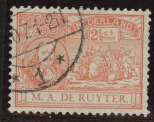 Netherlands Scott 89 used 1907 De Ruyter key stamp