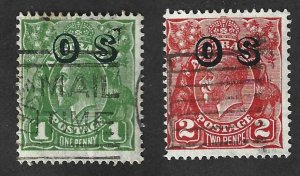 Australia Scott #O7-O8 Used  King George V Official stamps 2017 CV $8.50
