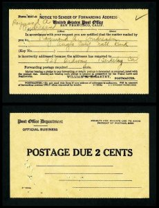 Notice of Forwarding address from San Francisco, California dated 1940's