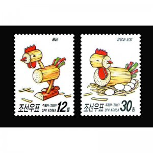 North Korea stamps. 2005. Old toys for children. Rooster and hen.