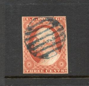#10 - 3 cent stamp of 1851 - RARE FIRST PLATE #1 early - cv$210 -   73R1e
