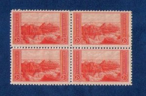 US Sc 741 MH Zip Block Of Four View Of Grand Canyon National Park Very Fine 1934