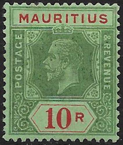 MAURITIUS SG204b 1921 10r GREEN & RED ON EMERALD - OLIVE BACK MTD MINT