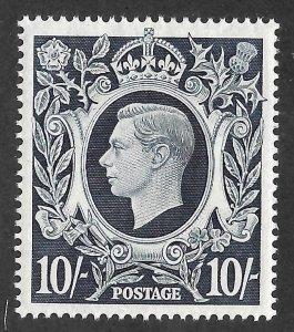 Doyle's_Stamps: MH 1939 British 10-Shilling KGVI Scott  #251* XF-S, cv $135