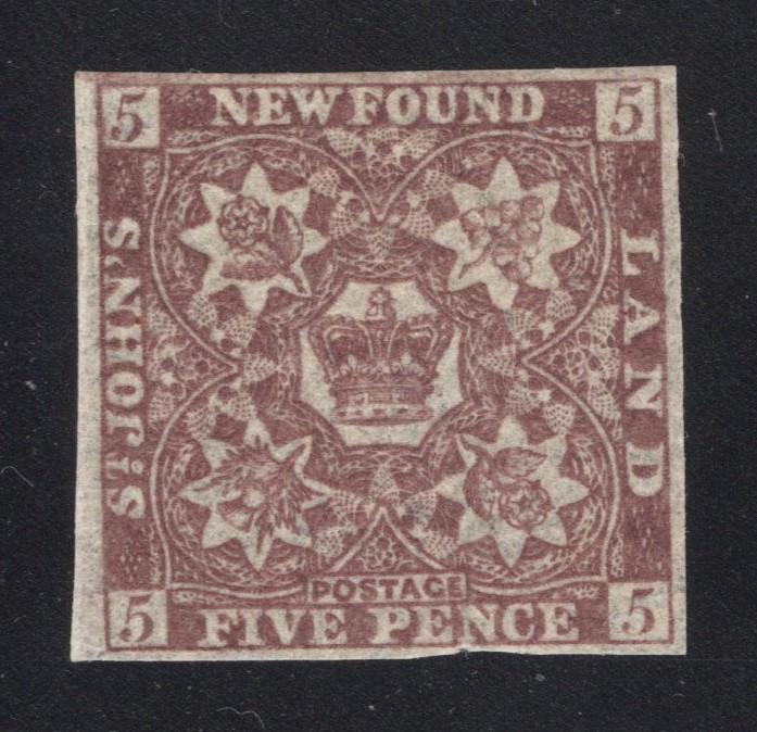 Newfoundland #12A - 5 Pence Violet Brown - Unused - w/Gum