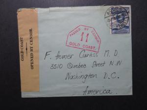 Gold Coast 1940 Censor Cover to USA - Z10827