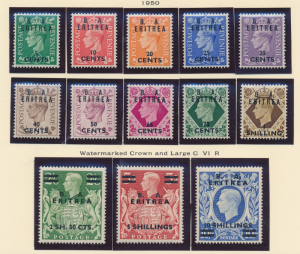 Great Britain, Offices In Africa, Eritrea Stamps Scott #14 To 26, Mint Hinged...