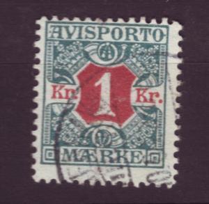 J3260 JL stamps 1907 denmark used #p8 $4.50v newspaper