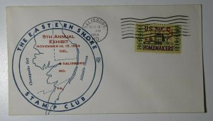 Eastern Shore Stamp Club Exhibit Salisbury MD 1964 Philatelic Expo Cachet Cover