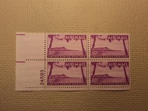 USPS Scott C46 80c Air Mail Hawaii Diamond Head 1952 Mint...