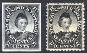 New Brunswick 1860 17c Black+PROOF SG 19+prf Scott 11+prf UMM/MNH Cat $110++