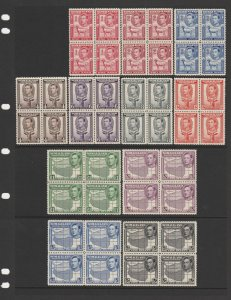 SOMALILAND : 1938 KGVI Pictorial set 1a to 5R (ex ½a) blocks. MNH **.