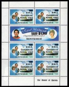 Montserrat - Sc #578 MS of 7 - Sc #469 Overprinted Caribbean Royal Visit  1985