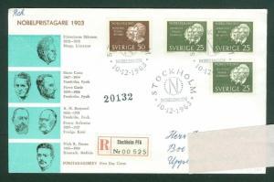 Sweden. FDC Cachet Reg. 1963. Nobel Prize 1903. Engraver: Wallhorn. Adr: Vasby