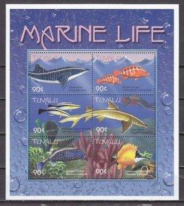 Tuvalu, Scott cat. 822 a-f. Marine Life sheet of 6. ^