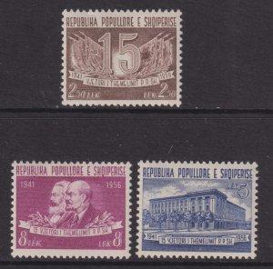1957 Albania 15th Anniversary of Labor Party set MNH Sc# 509 / 511 CV $3.25