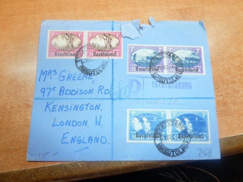 Basutoland 1945 3 color registered cover to UK (13bed)