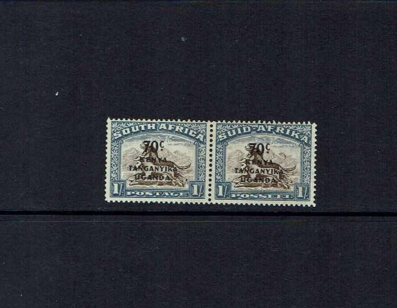 KUT, 1941 surcharges issue, 70c on 1/- Crescent Moon Flaw, MNH pair