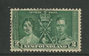 Newfoundland -Scott 230 - Coronation Issue -1937 -FU -Single 2c Stamp