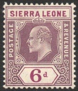 SIERRA LEONE-1908 6d Dull & Bright Purple Sg 107 MOUNTED MINT V42942