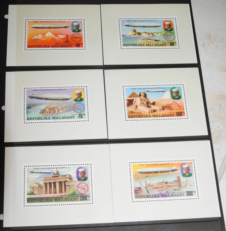 1976 MNH Malagasy Republic Zeppelins, Sc# 545-8, C158-9 Presentation Sheets