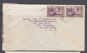 BRITISH HONDURAS, 1942 Censored cover 3c. (2), Belize to USA.