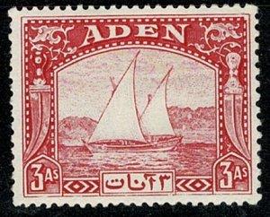ADEN KG VI 1937 DHOW 3a CARMINE UNUSED (MINT HINGED) SG6 Wmk.MSCA P.13x12 VGC